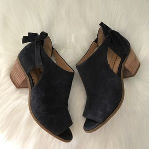 Lucky Brand Suede Leather Heeled Sandals Shoes 7